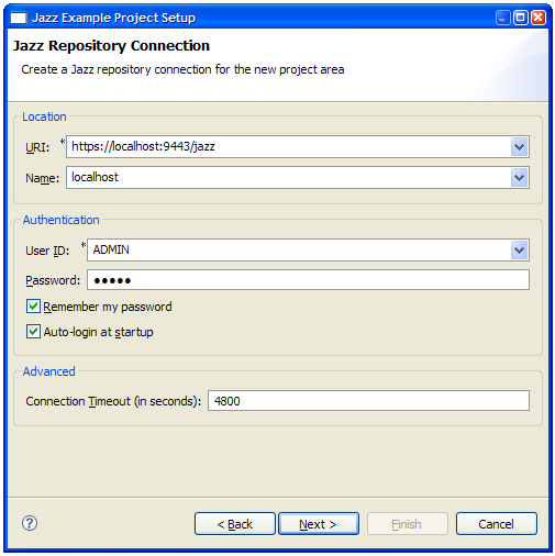 The Jazz Example Project Setup Wizard.