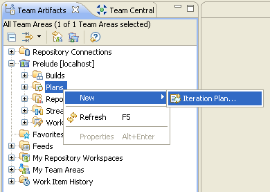 """Select """"Plans"""" in the Team Artifacts view"""
