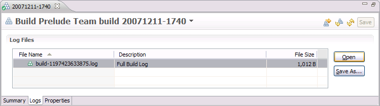 Build result Logs page