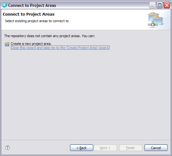 Connect to project areas wizard