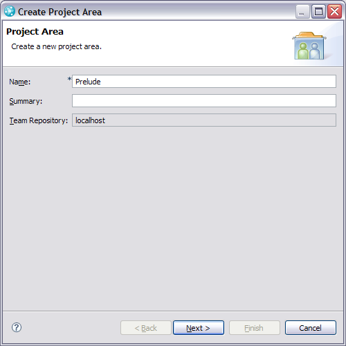 Project Area creation page