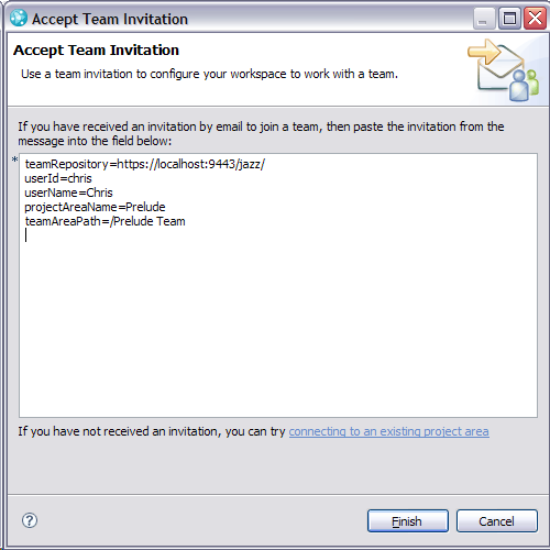 Accept Team Invitation dialog