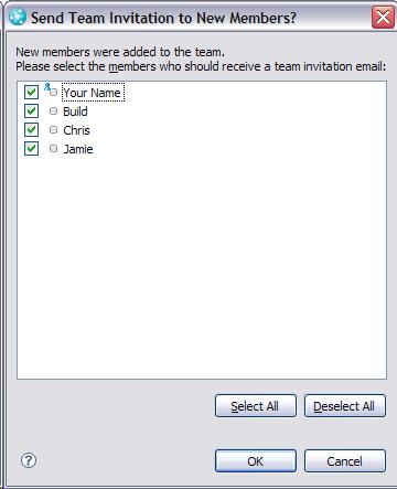 SendTeam Iinvitation to New Members dialog