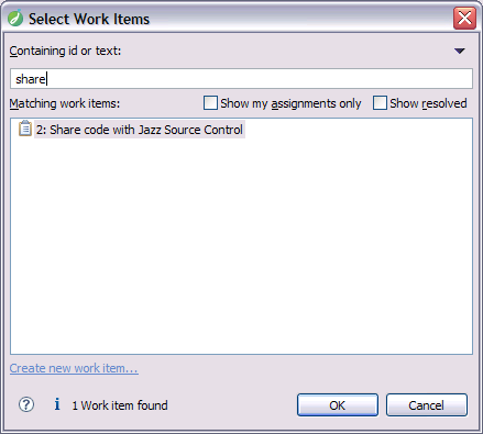 Share code with SCM work item