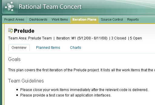 Iteration Plan, Overview page