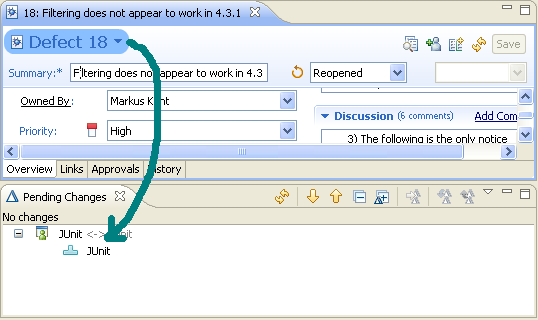 Dragging a work item to the component node in the Pending Changes view