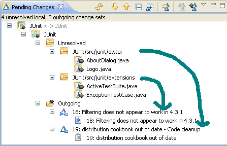 Check-in in local changes with drag and drop