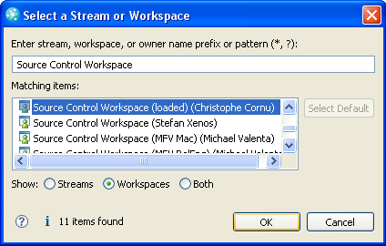 Selecting the user's own workspace