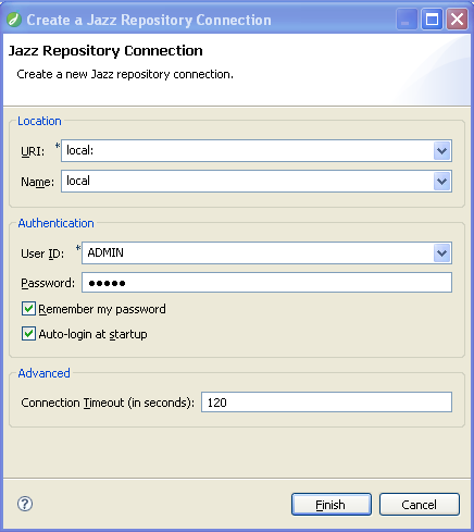 "The ""Create a Repository Connection"" dialog."