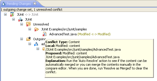 Conflict tooltip