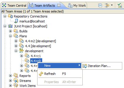 New Iteration Plan context menu