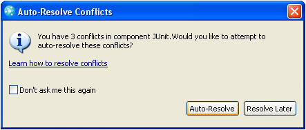 Auto Resolve Conflicts dialog