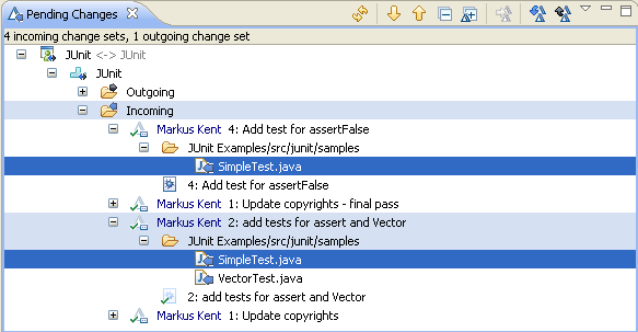 Incoming changes for file SimpleTest.java showing in Pending Changes view