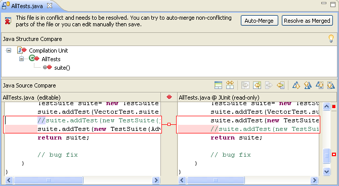 Conflict Compare Editor allows Bill to merge in Markus's conflicting change into his local copy of AllTests.java