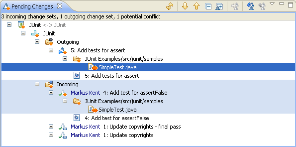 Pending Changes view shows potential conflict with Markus's change on SimpleTest.java