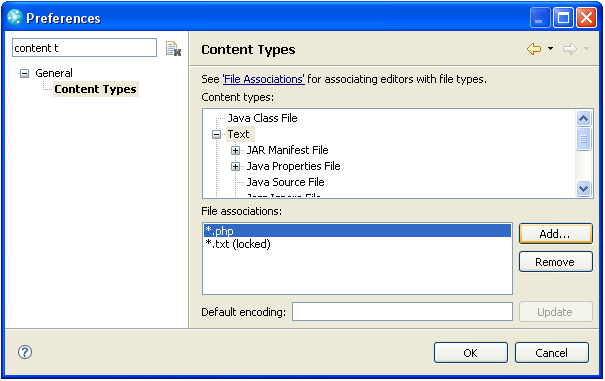 Associating .php to the Text content type through Eclipse preferences