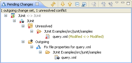 Conflict on file properties for query.xml