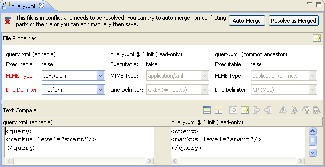 Compare Editor showing file properties for resource query.xml