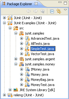 Package Explorer shows potential conflict on SimpleTest.java file