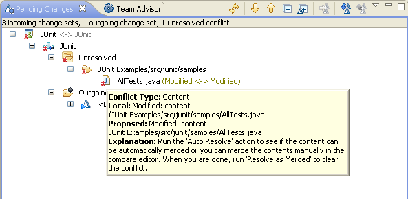 Bill has a conflict on AllTests.java showing in the Pending Changes view