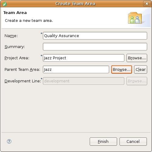 Create team area dialog