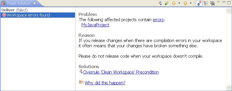 Team Advisor - code delivery failure