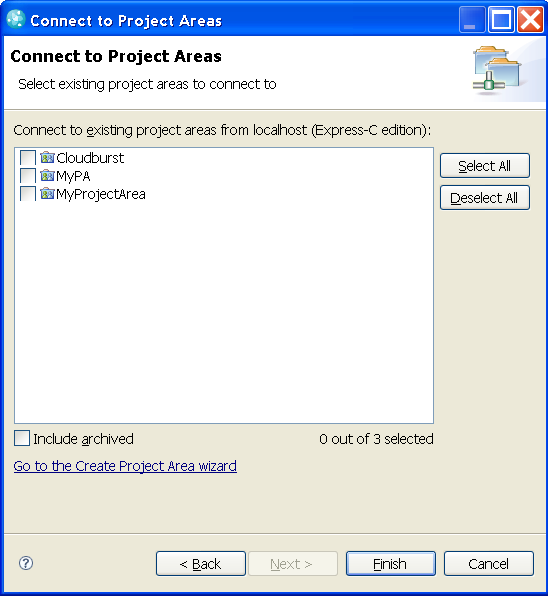 Connect project area wizard