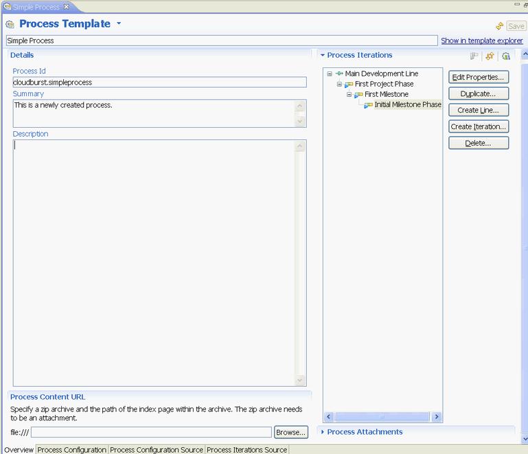 Simple process template editor