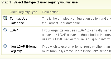 User Registry page in Setup wizard