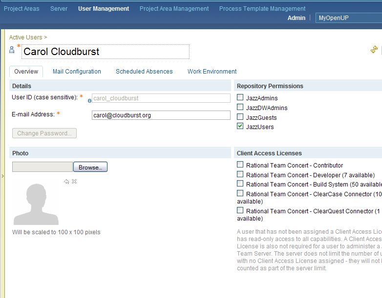 Web UI admin page