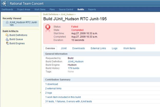 Build result in RTC web ui
