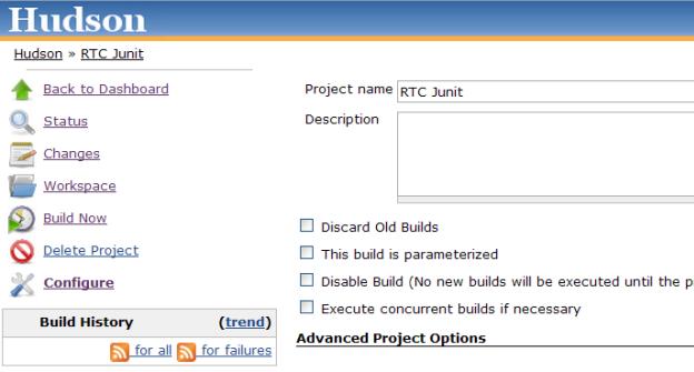 Hudson job configuration page