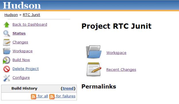 Hudson RTC Junit build page