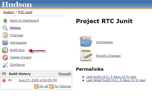 Hudson RTC JUnit build admin page