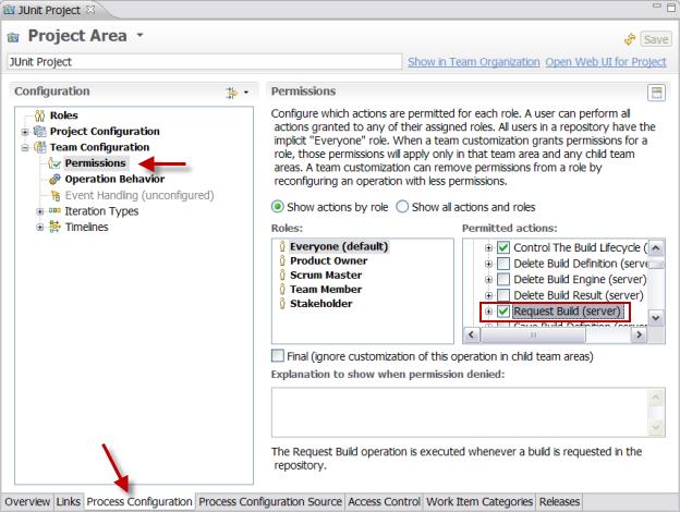JUnit project area Process Configuration/Team Configuation Permissions page