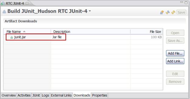 Build result Downloads pag