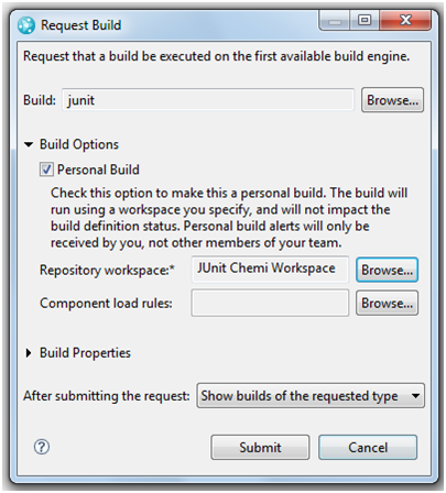 Figure 11.- Example of a personal build execution