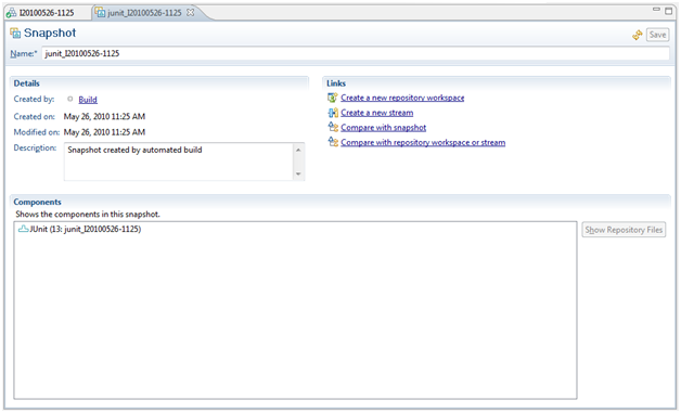 Figure 18.- Example of Repository Workspace creation from a snapshot