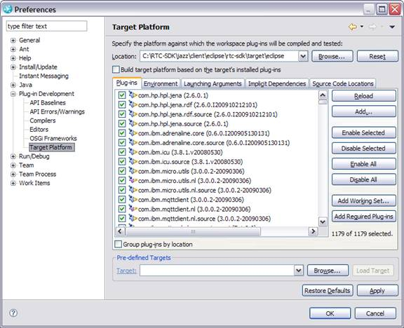 Setting plug-in target platform