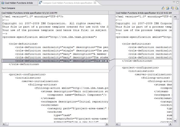 XML Comparison Screen