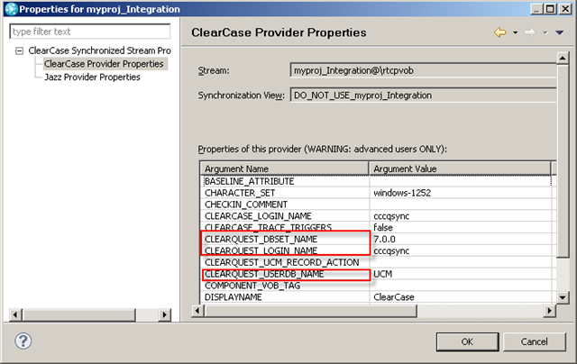 ClearCase Provider Properties