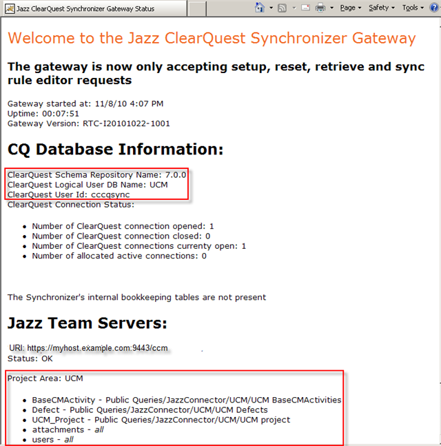 CQ GateWay status