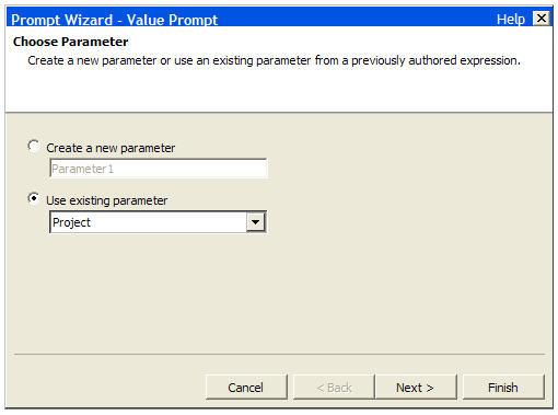 Choose parameter in prompt wizard