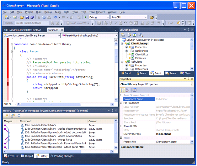 Working with the Sandbox Explorer in the Rational Team Concert