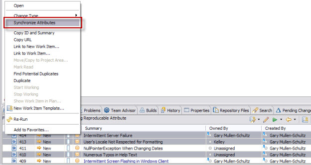 Synchronizing Attributes on Selected Work Items