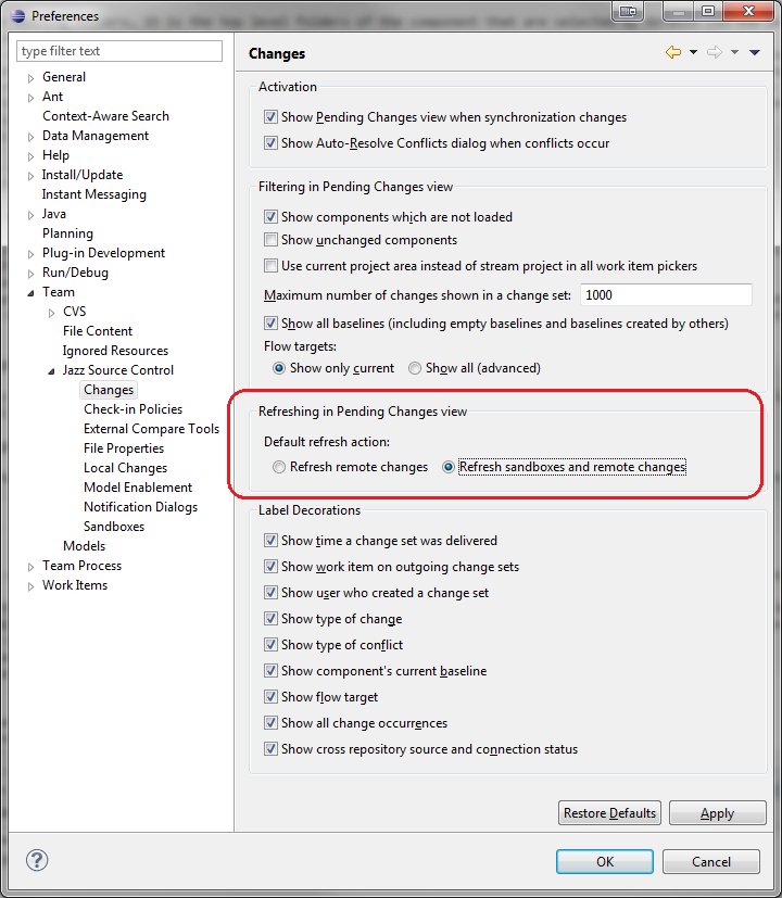 Setting the default refresh action preference option