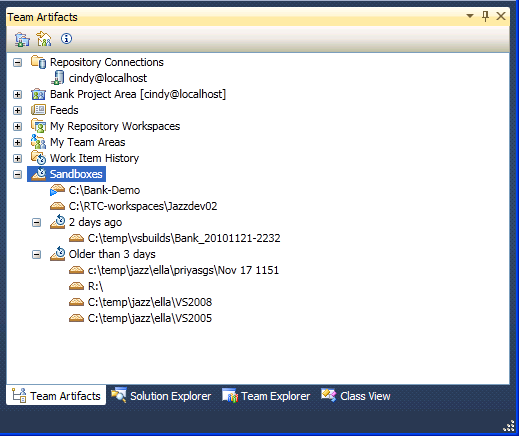 Working with the Sandbox Explorer in the Rational Team