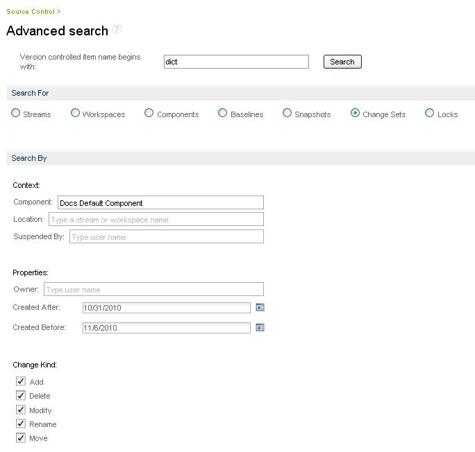 Advanced search for change set