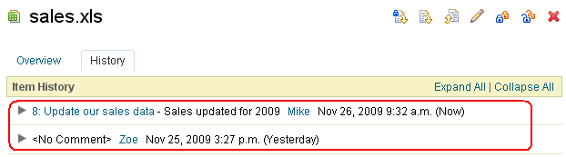 Document's history reveals it was added by Zoe and then modified by Mike