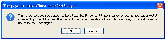 Prompt warning the user they are trying to edit a non text file